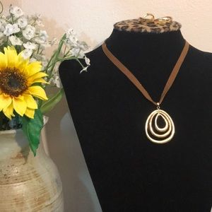 Gold Pendant w/ Leather Strap Necklace